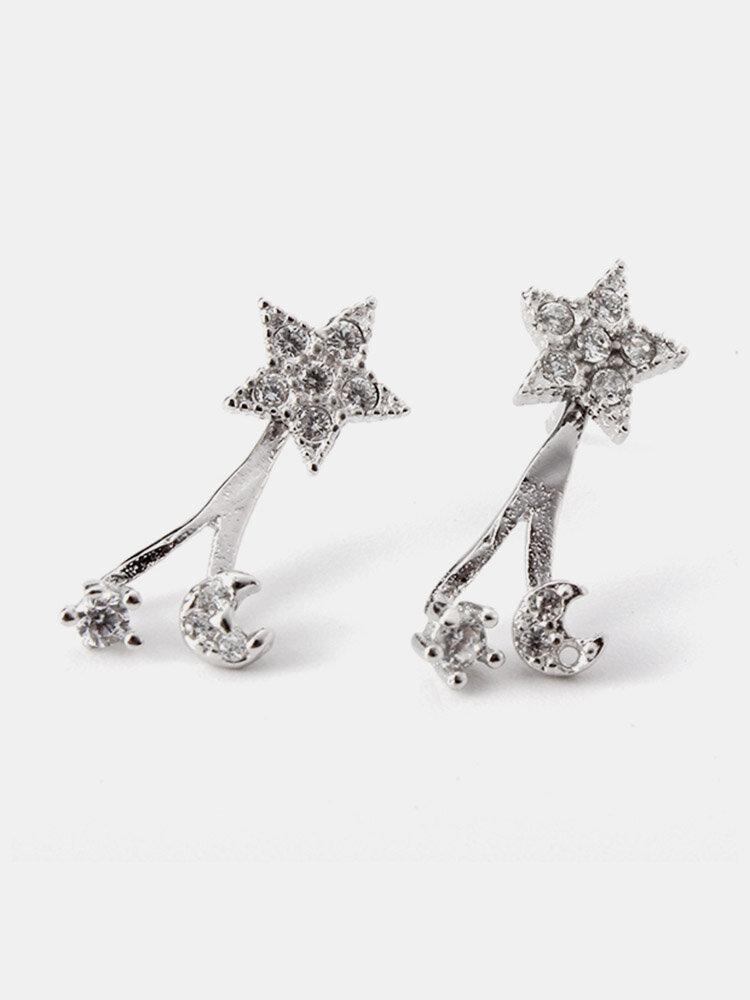 Sweet Women Earrings Crystal Moon Star Wedding Earrings