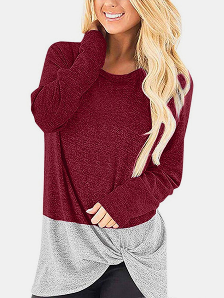 Women Contrast Color Patchwork Long Sleeve Casual T-Shirt