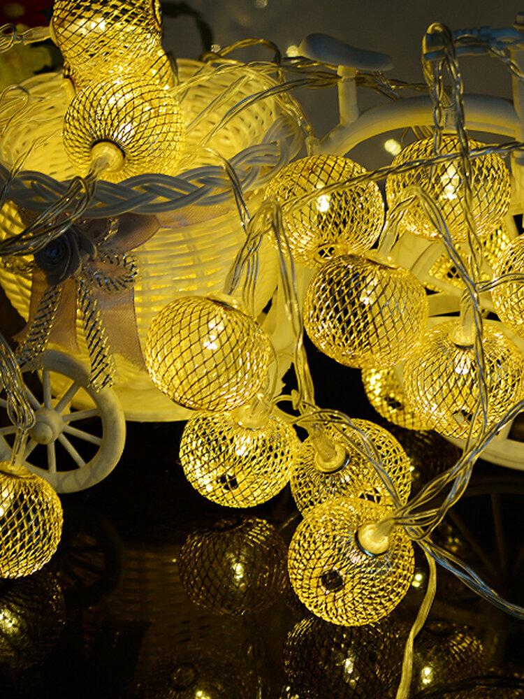 20LED Solar String Lights Iron Lantern Outdoor Waterproof Christmas Garden Home Decor