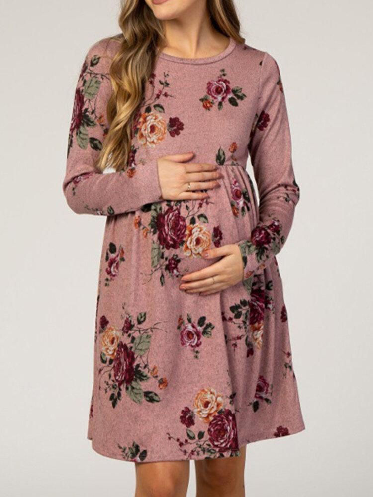 Maternidad Estampado floral O-cuello Bolsillo Manga larga Casual Vestido para Mujer