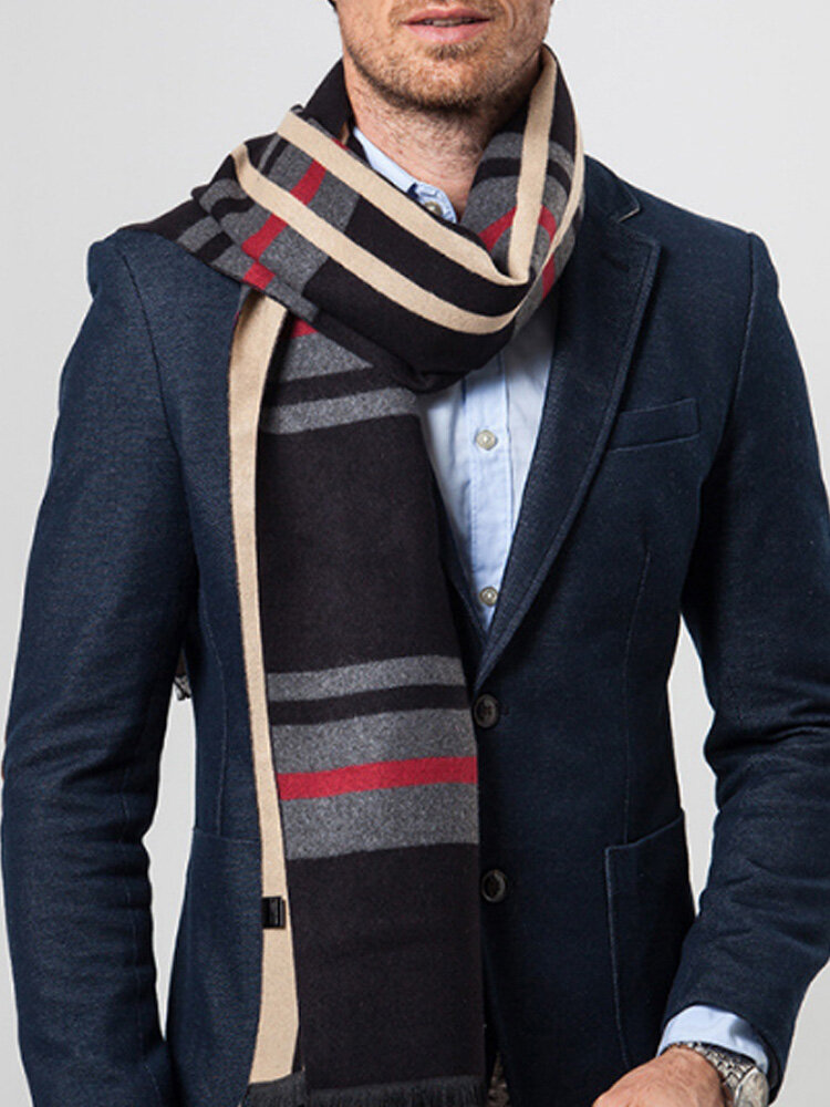 Men Cashmere Casual Universal Business Colorful Stripe Pattern Keep Warm Contrast Color Scarf