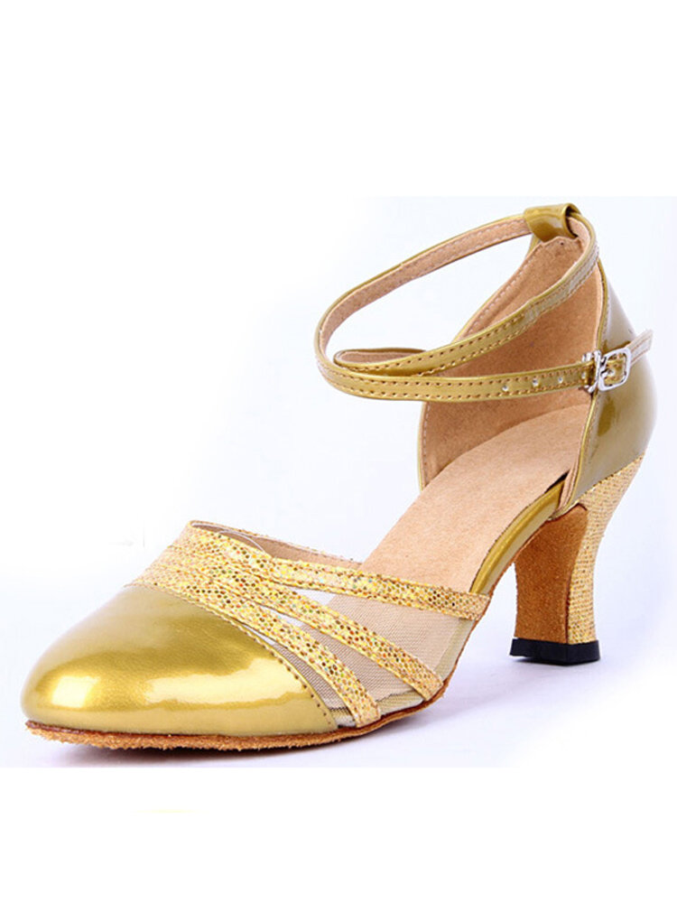 Women Sequins Latin Dance Shoes Mary Jane Mid Heel Strap Buckle Pumps