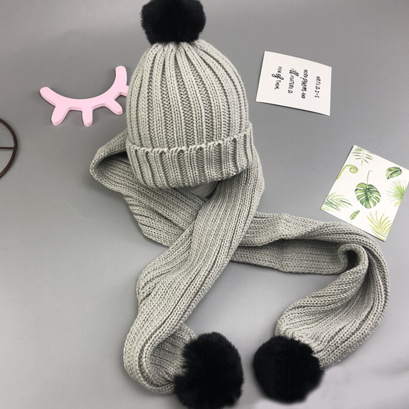 9 Colors Unisex Kid's Novelty Beanies Knit Hats + Scarf Set For 1Y-5Y