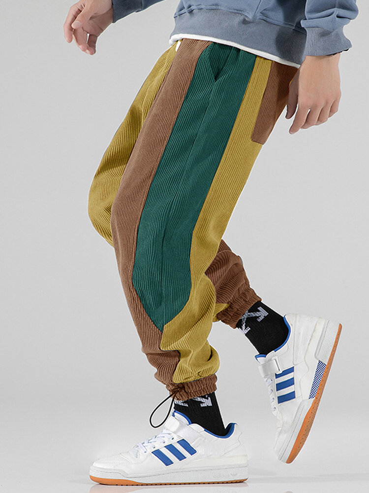 Men Tricolor Patchwork Corduroy Drawstring Harm Pants With Draw Cords