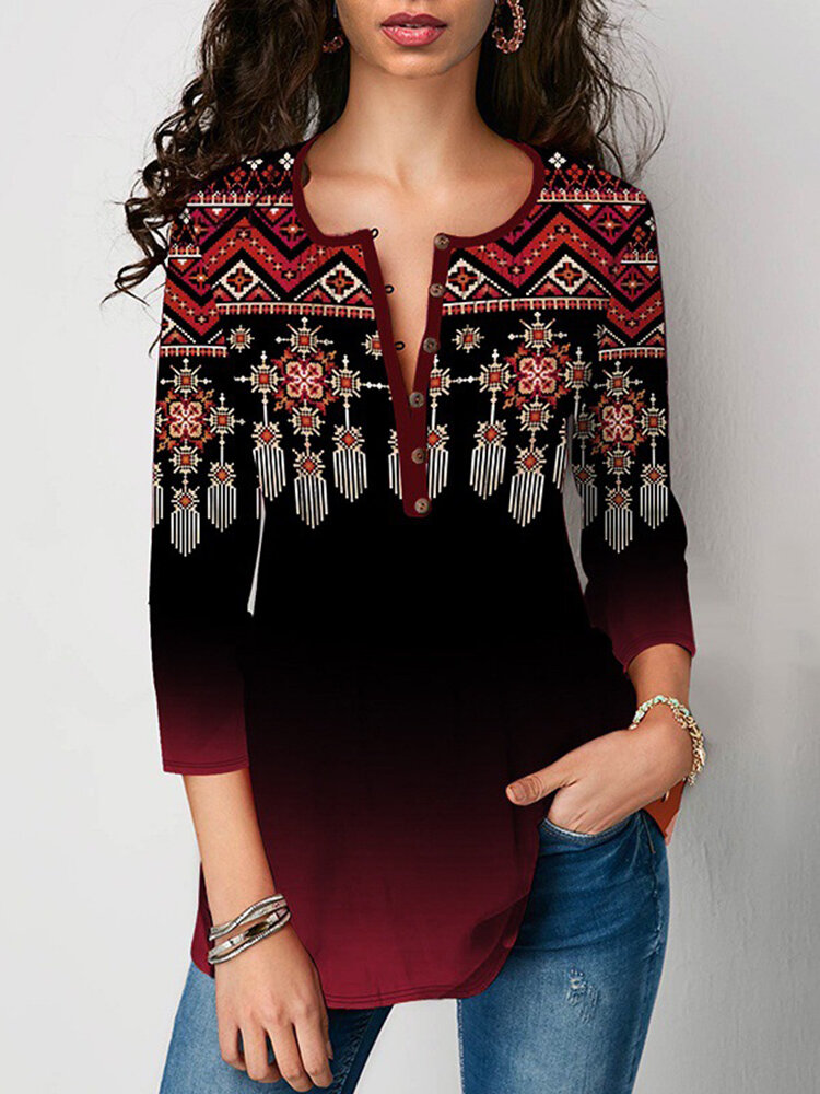 Ethnic Pattern Print Button Casual T-Shirt For Women