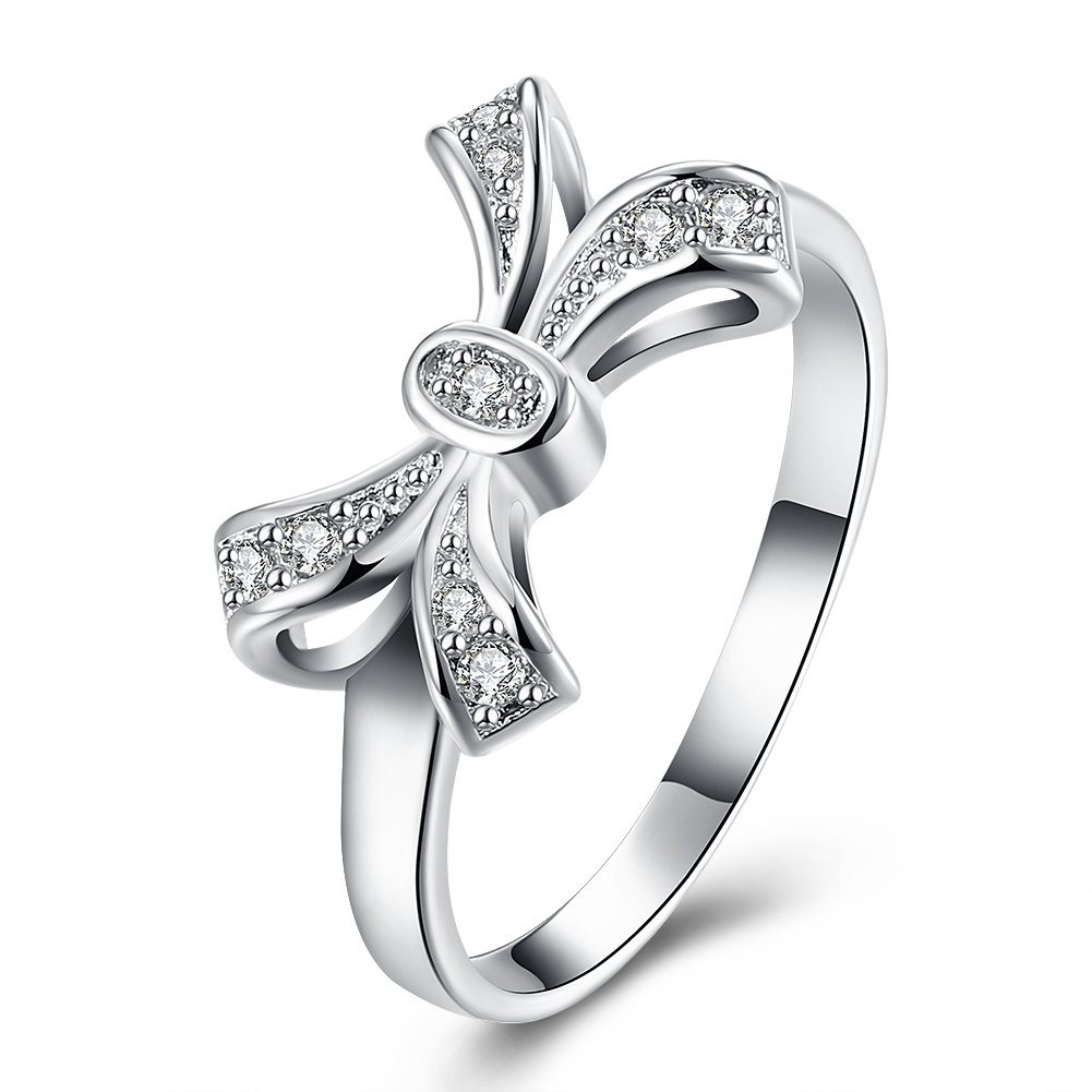 YUEYIN Sweet Ring Bow Knot Zircon Ring for Women Gift