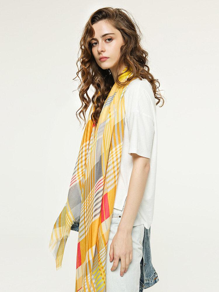 Women's Multicolor Plaid Stitching Scarf Long Ladies Tassel Thin Shawl