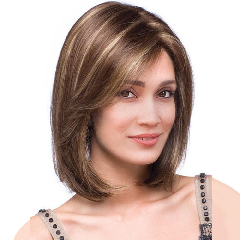 Short Mix Color Stylish Highlight Synthetic Wig Natural Curly Hair Capless Side Bang 32cm