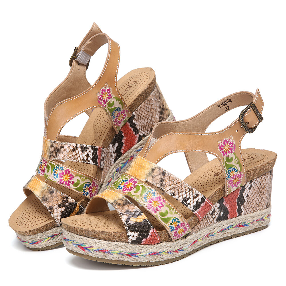 SOCOFY Leather Floral Snakeskin Printed Strappy Buckle Slingback Wedge Sandals Espadrilles