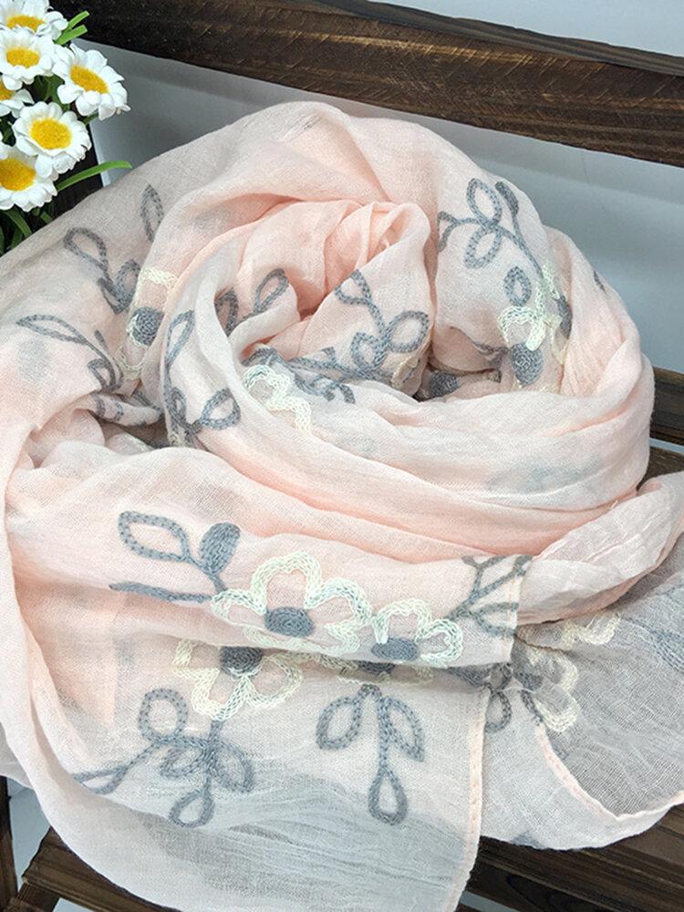Sciarpe di lino comfort ricamate da donna