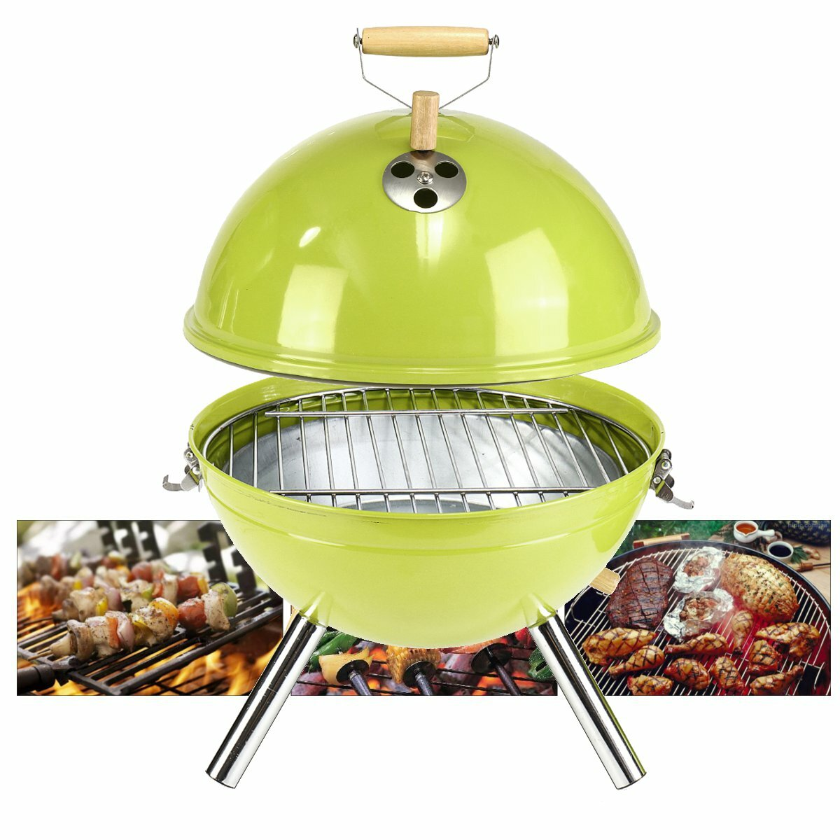<US Instock> Original Kettle Charcoal Grill Outdoor Portable BBQ Grill Stainless Steel Kettle Grill BBQ Barbecue Grill