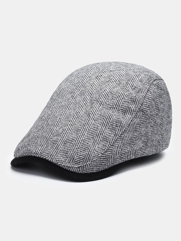 メンズウールピンストライプコントラストカラーハットつばオールマッチ暖かさベレー帽フラットキャップ