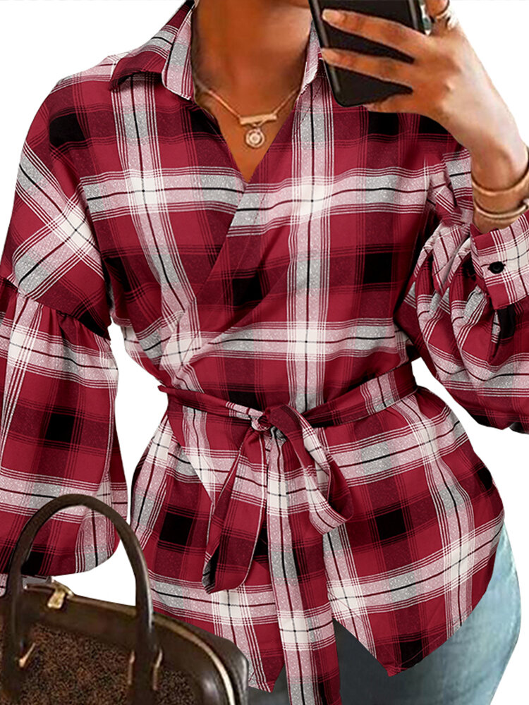 Plaid Knotted Lapel Collar Long Sleeve Shirt For Women