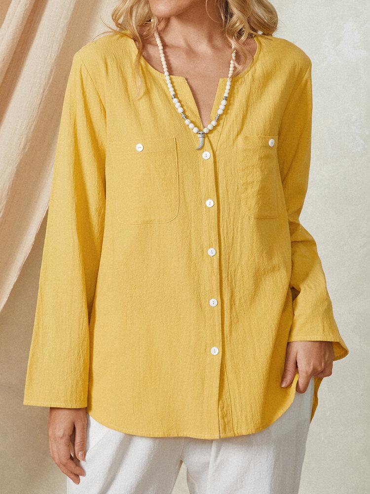 Solid Color Plain Button Long Sleeve Casual Cotton Blouse Women Shirt