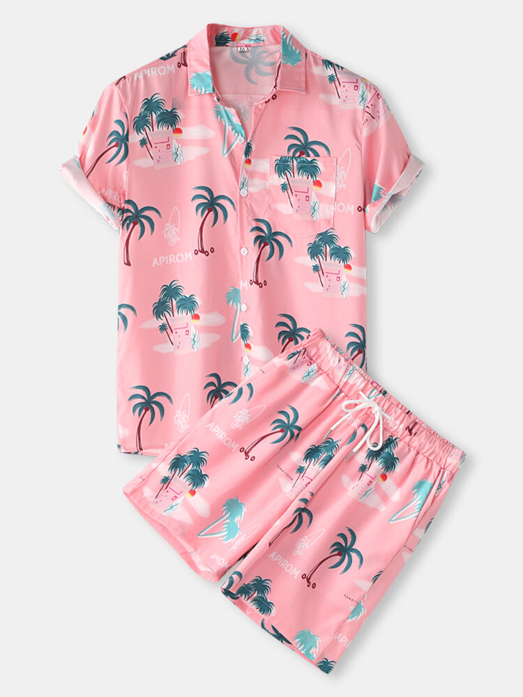 Mens Hawaiian Letter & Tropical Print Lapel Short Sleeve Drawstring Casual Two Piece Outfits