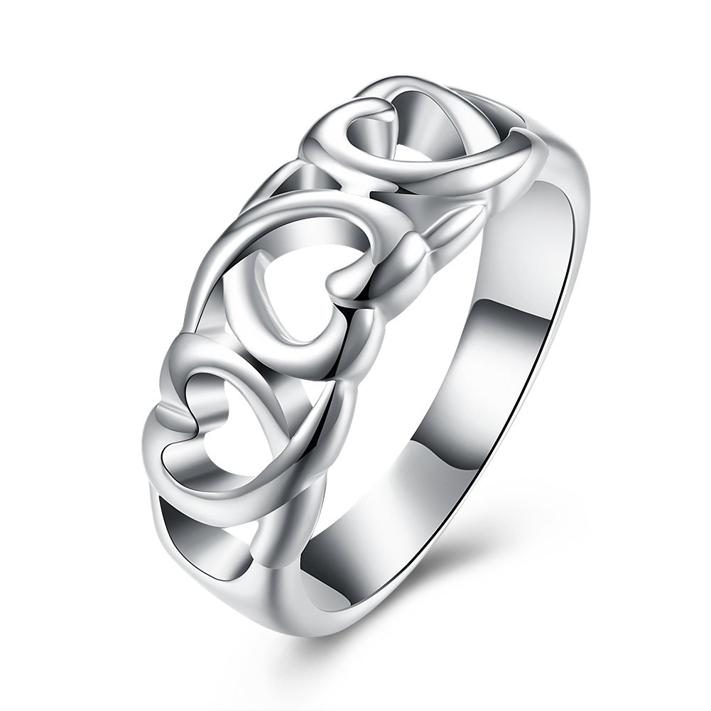 YUEYING Sweet Ring Hollow Heart Silver Plated Women Ring