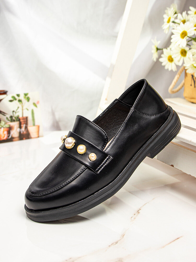 Casual Soft Comfortable Flats Solid Color Pearl Inlay Loafers Shoes For Women