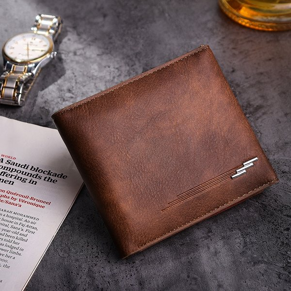 Men Business Casual PU Leather Hasp Card Holders Wallet Purses (SKUB77591) photo
