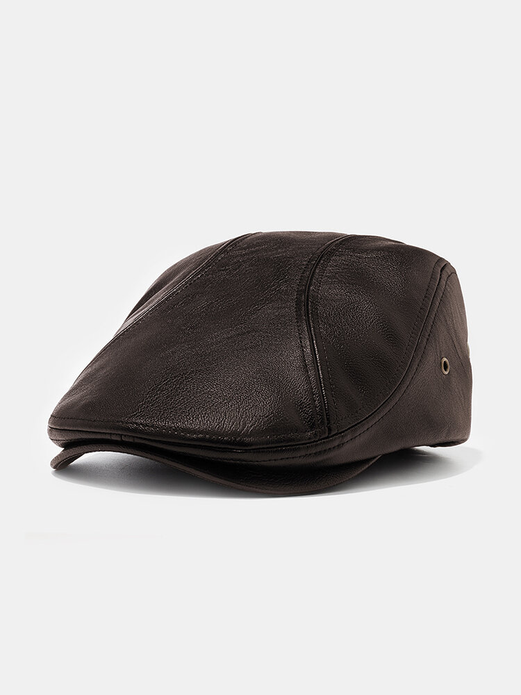 Men's Leather Beret Hats Casual Flat Caps With Holes For Ventilation Lvy Hats