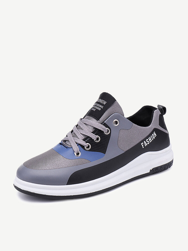 Men Color Blocking Fabric Breathable Sport Casual Trainers