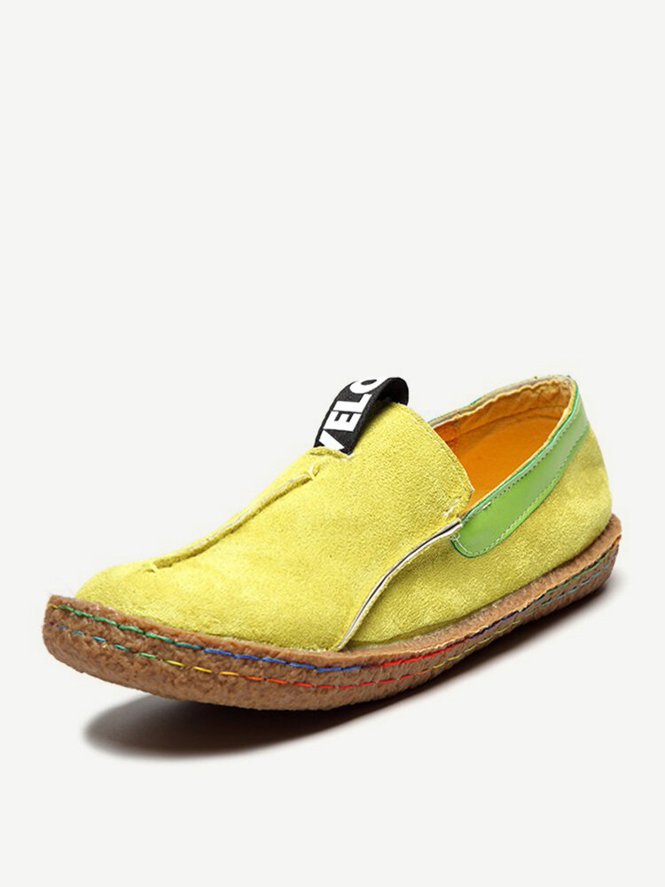 LOSTISY Suede Pure Color Slip On Stitching Flat Soft Shoes For Women