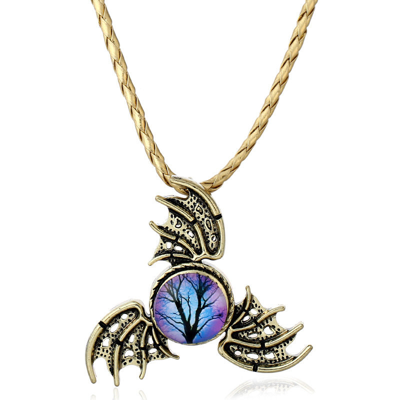 Vintage Trinity Evil Dragon Wings Fidget Spinner Shape Pendant Necklace for Women Men