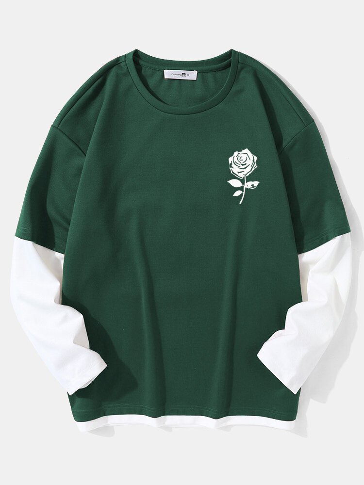 Mens Rose Print Crew Neck Contrast Faux Twinset Doctor Sleeve Casual T-Shirts