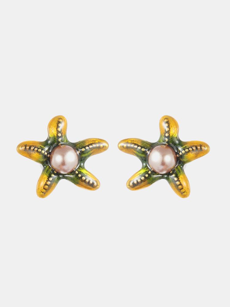 Cute Starfish Pearl Earrings Unique Yellow Purple Animal Piercing Stud Earrings Gift for Women