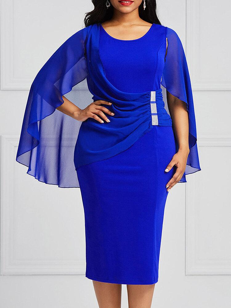 Shawl Flake Short Sleeve Chiffon Dress Tight Buttocks Sexy Dress