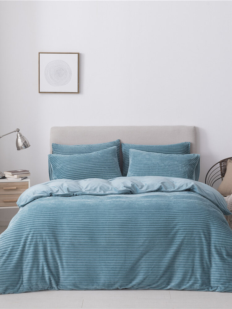Velvet Stripe Solid Color Three-piece For Bedding Home Textiles