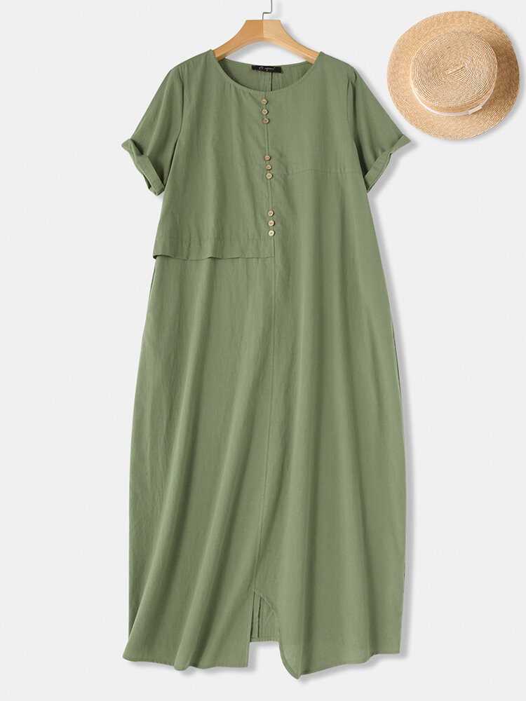 Casual Button Stitching Short Sleeve Plus Size Maxi Dress