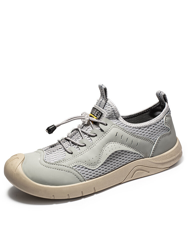 Men Breathable Mesh Fabric Splicing Lace-up Round Toe Casual Outdoor Shoes