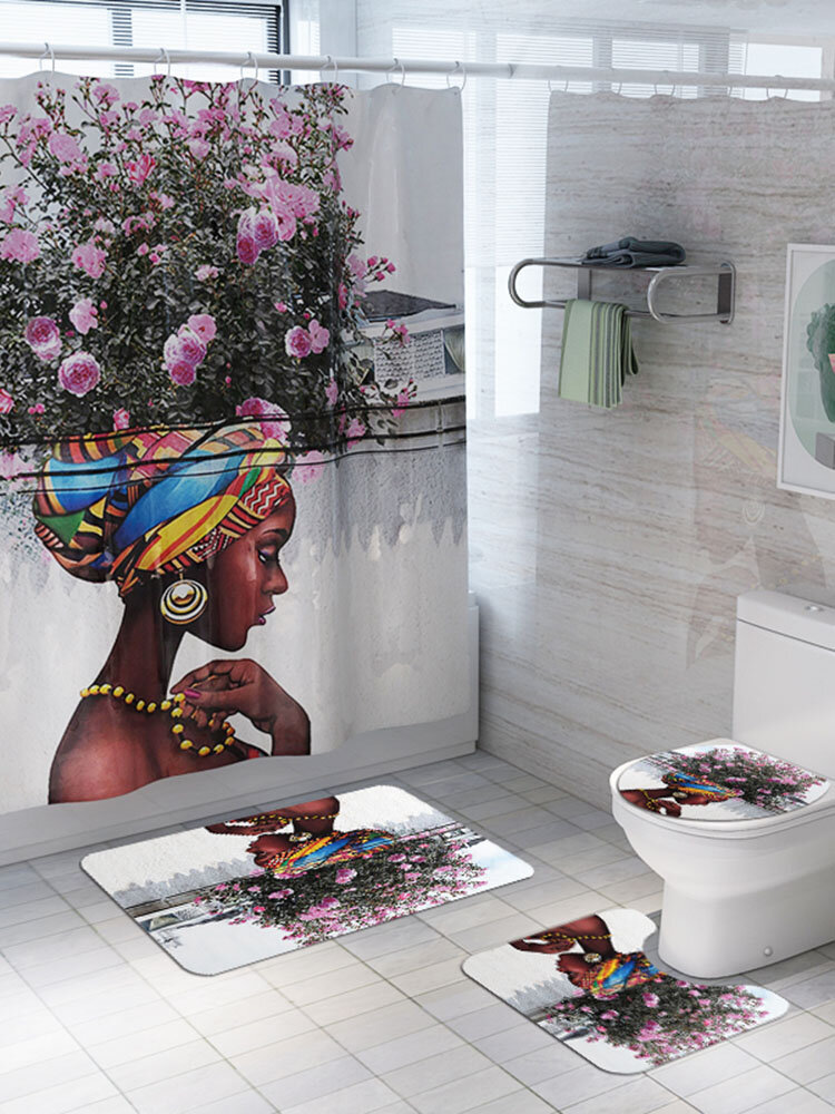 4 PCS Bathroom Mats Shower Curtain Set Prints Polyester Bathroom Curtains With 12 Hooks