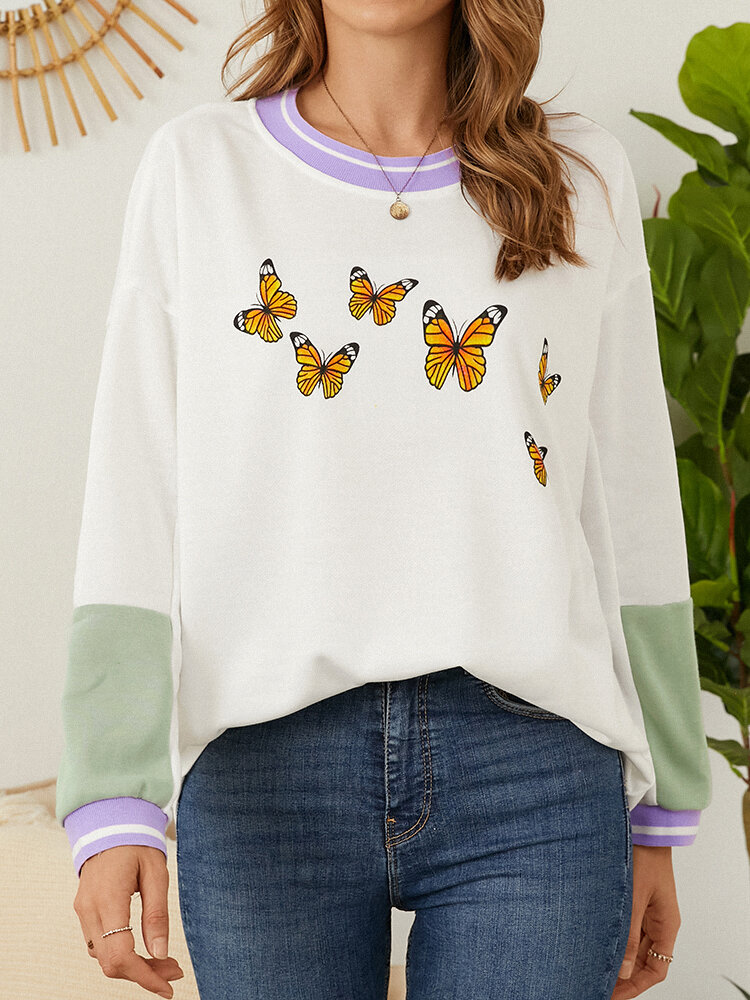 Butterfly Graphic Print Patchwork O-neck Casual Sweatshirt