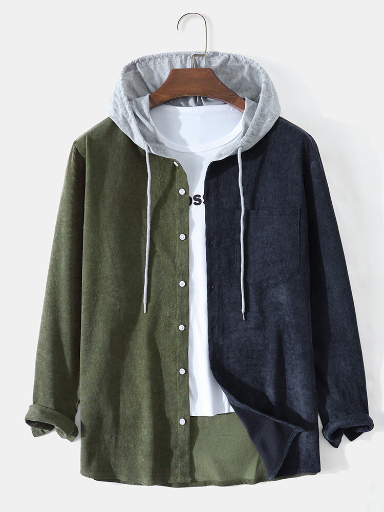Mens Corduroy Contrast Stitching Drawstring Hooded Long Sleeve Shirts With Pocket