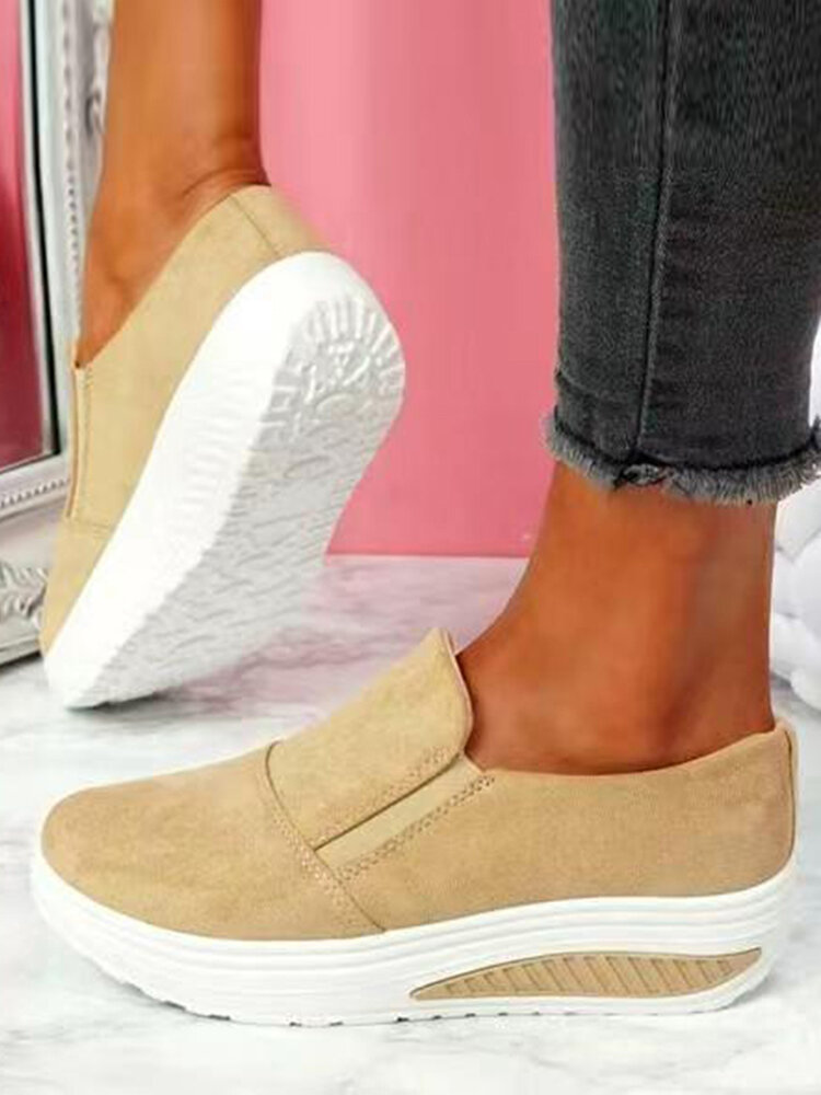 Plus Size Women Casual Breathable Comfy Shake Shoes Elastic Slip-On Platform Sneakers