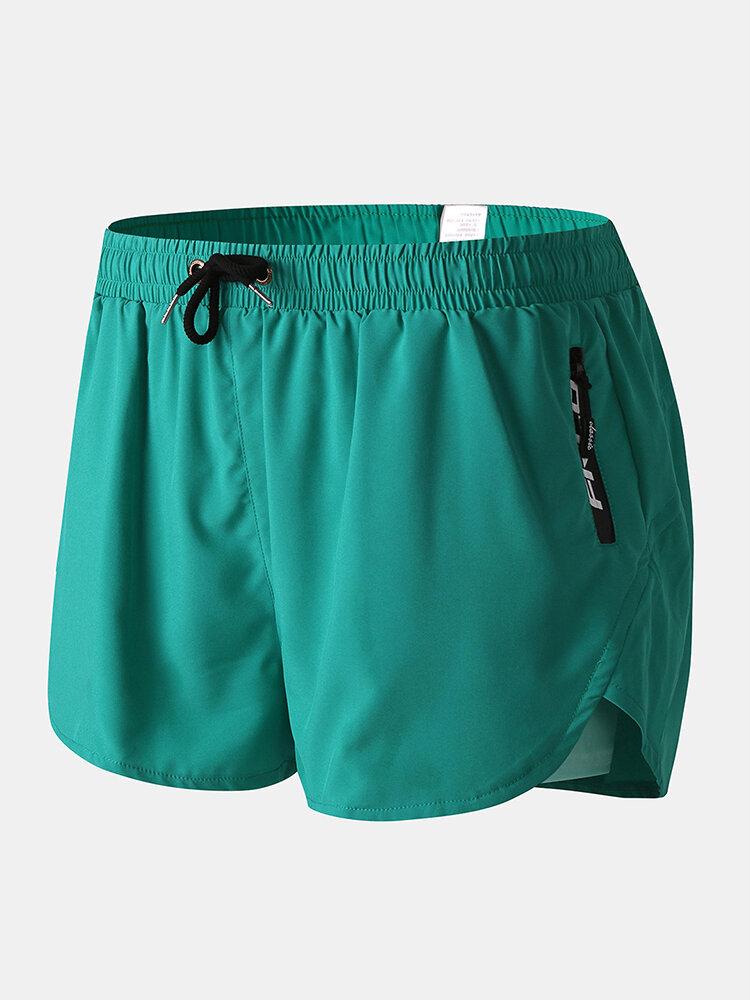 Men Swim Trunks with Compression Liner Breathable Moisture Wicking Liner Zipper Pocket Running Mini Shorts