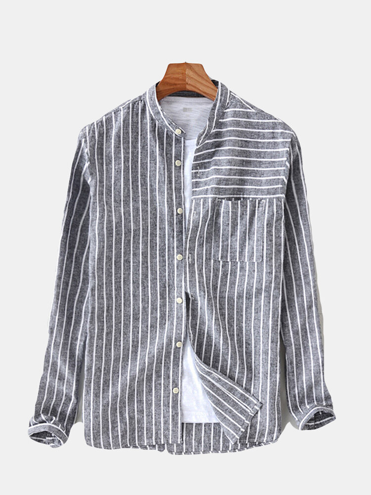 73dc4eb14 ChArmkpR Mens Cotton Striped Vintage Breathable Loose Fit Long ...