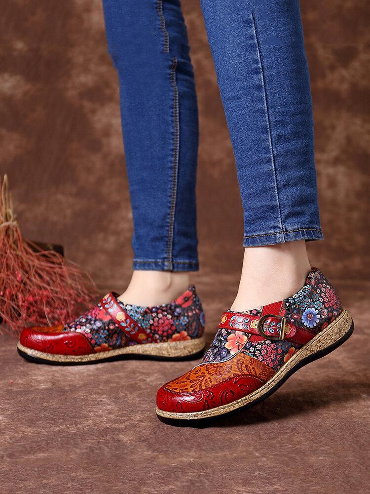 SOCOFY Retro Buckle Fancy Flowers Splicing Vera Pelle Cucitura Cerniera Comode scarpe basse