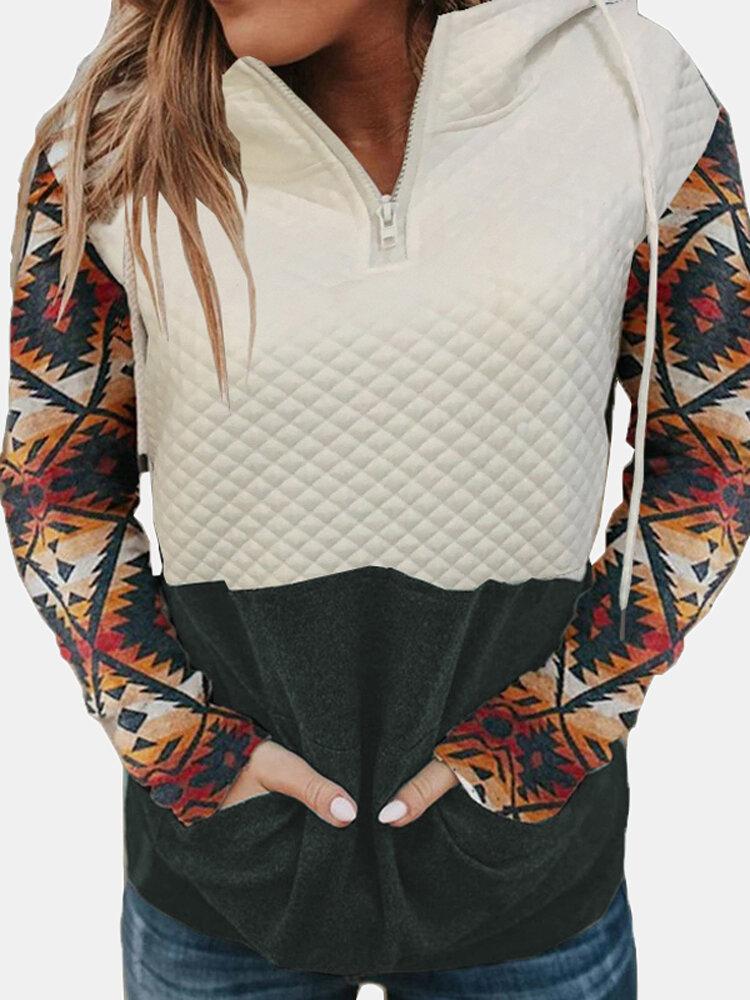 Print Raglan Sleeve Zip Front Patchwork Plus Size Hoodie with Pockets
