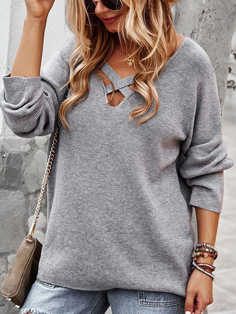 Solid Cross V-neck Long Sleeve Loose Women Sweater