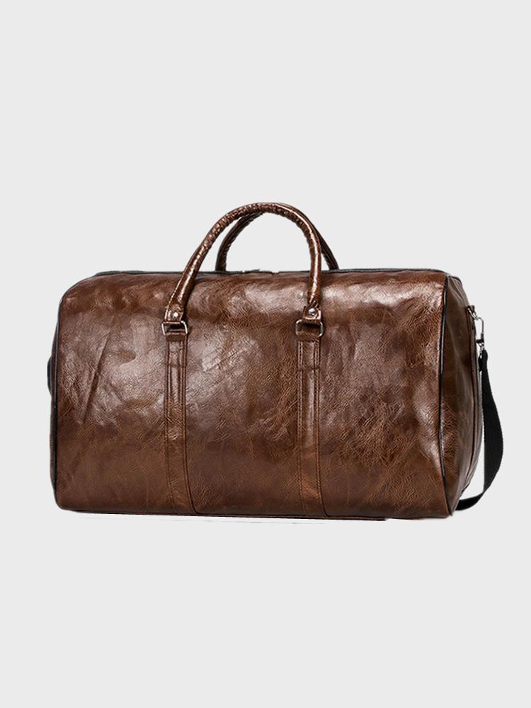 Men Vintage PU Leather Short-distance Handbag Shoulder Bag Travel Bag Duffle Bag Crossbody Bag