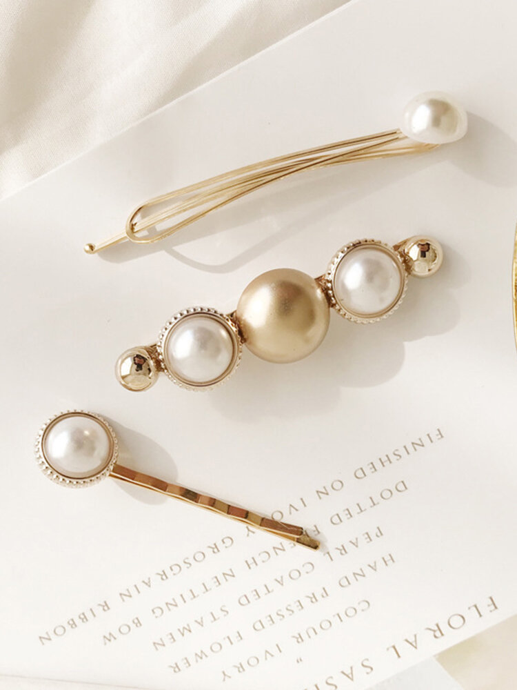 Elegant Pearl One-Band Hair Clip Hair Bang Clip For Women Gold Alloy Hair Accessories