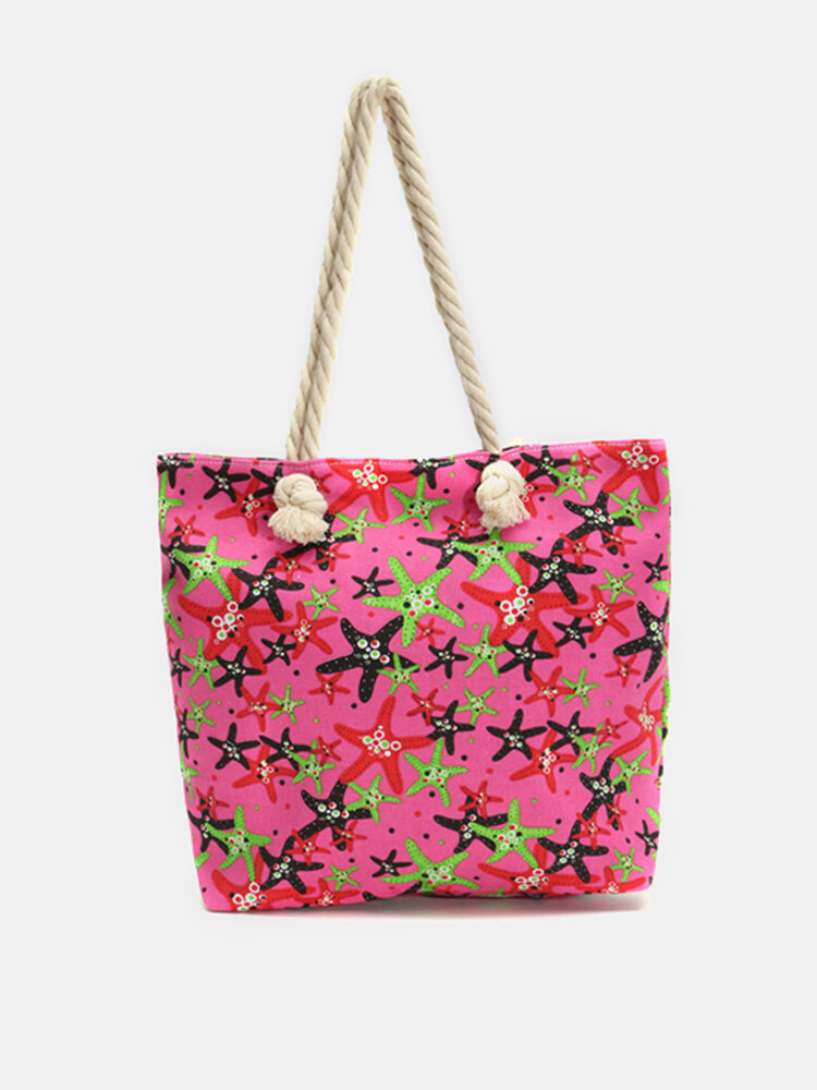 Reusable Starfish Canvas Shoulder Bag Travel Shopping Tote Handbag