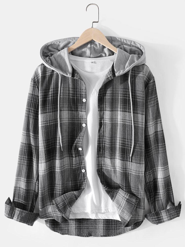 Mens Plaid Button Up Casual Long Sleeve Drawstring Hooded Shirts