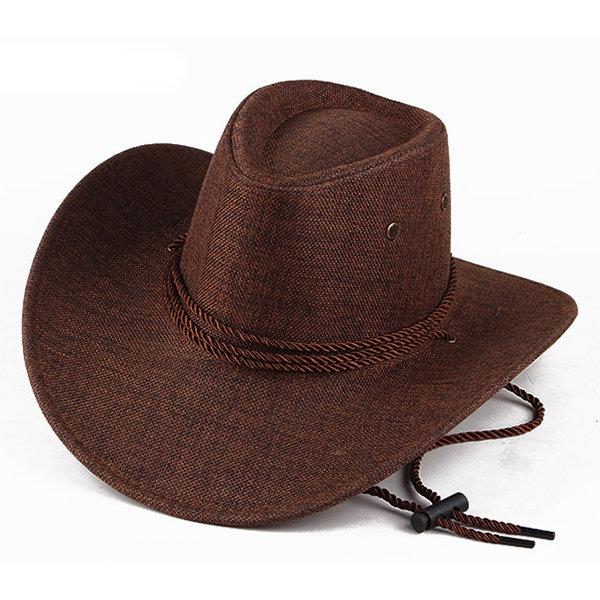 Mens Linen Wide Brim Western Cowboy Jazz Hat Sunscreen Sunshade Panama Caps Fedoras Hat