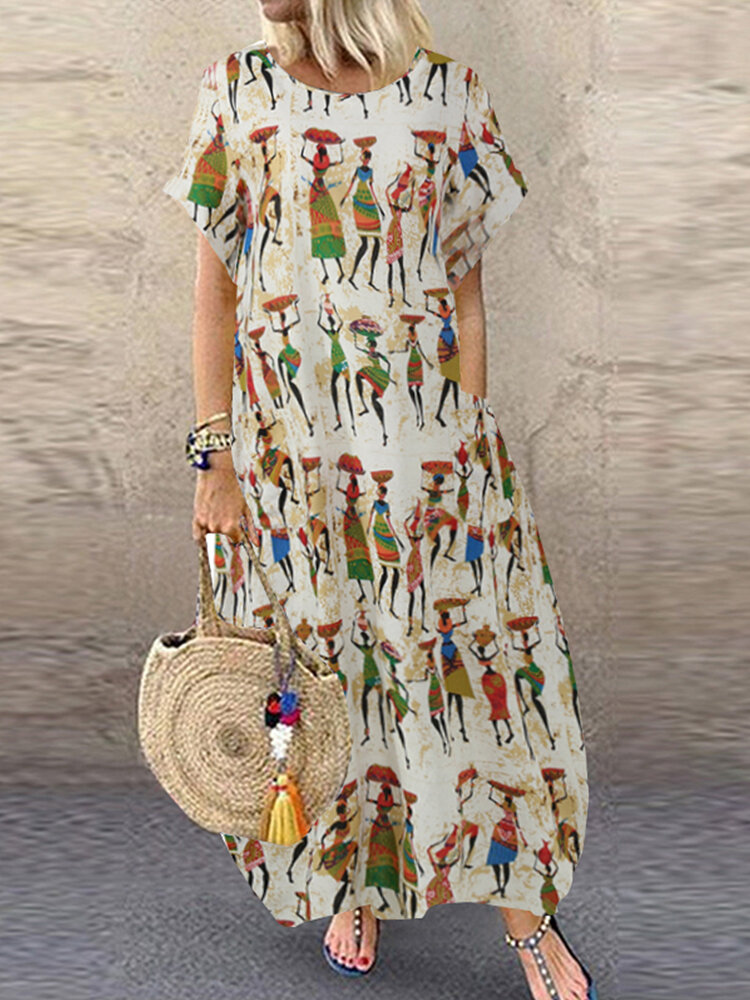Vintage Ethnic Print Short Sleeve Plus Size Dress