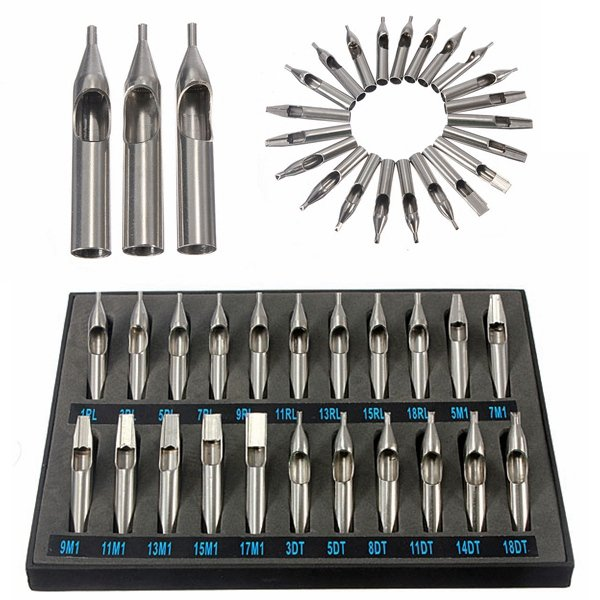 22Pcs Stainless Steel Tattoo Tips Nozzle for Needles Set Kit