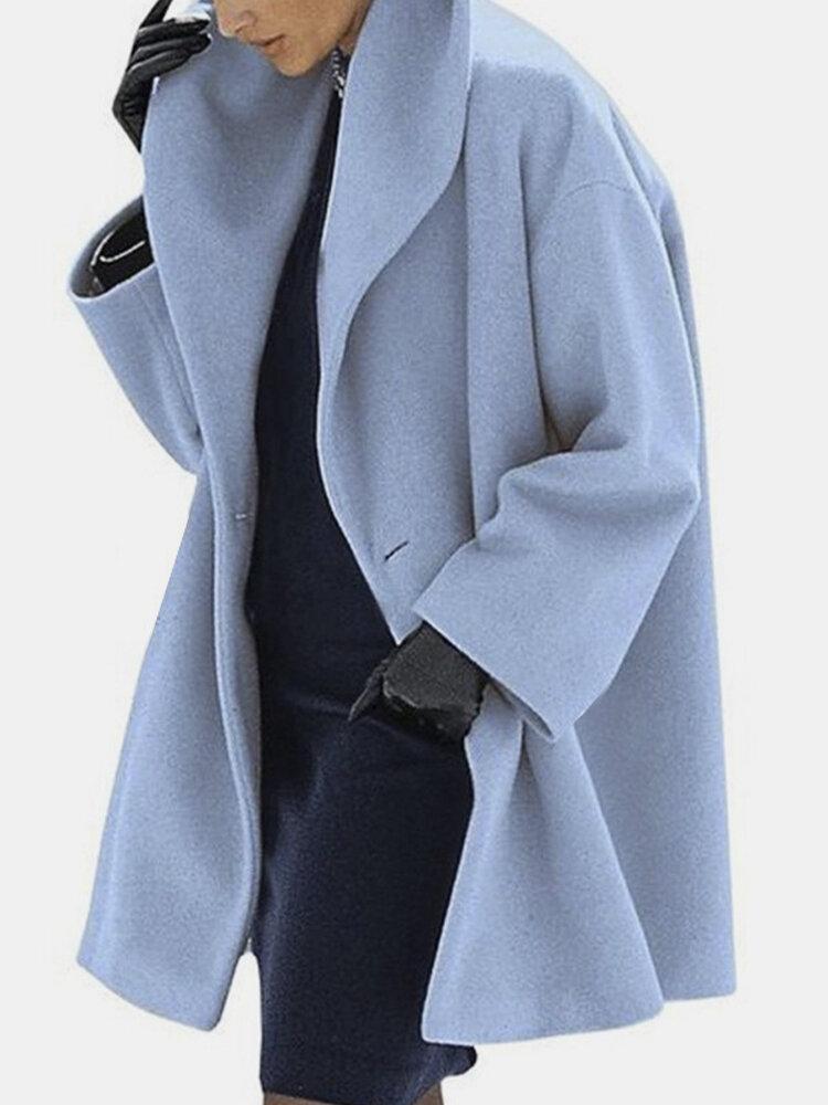 Solid Color Vintage Elegant Fleece Coat For Women