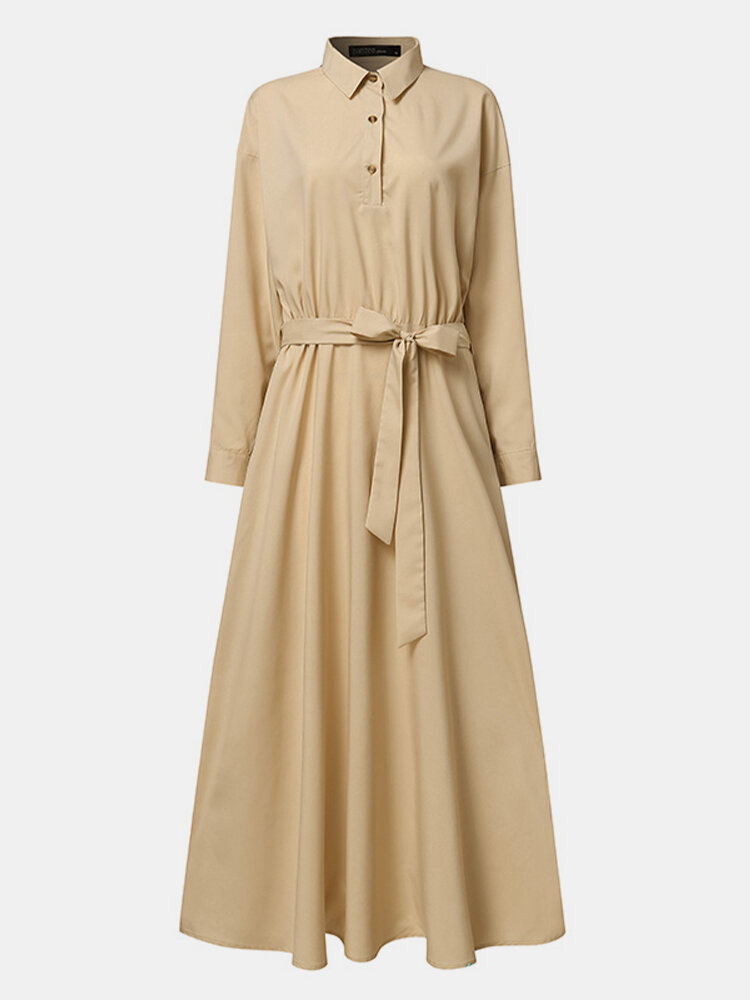 Solid Color Knotted Pocket Long Sleeve Casual Dress For Women
